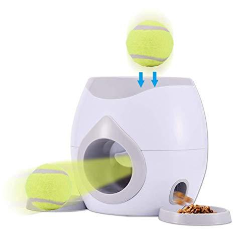 signmeili Ball-Werfer Hundespielzeug, Futterspender für Hunde, automatische Ballwurfmaschine Belohnungsfutterautomat mit 2 Tennisbällen und Fütterungslöffel