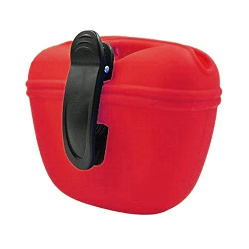 RoyalCare Hunde Futterbeutel für Hundetraining mit Clip Magnetverschluss in Silikon für Außenbereich (Rot)
