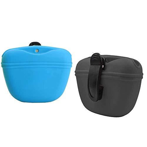 IWILCS Silikon Futterbeutel für Hundetraining, 2PCS Leckerlibeutel fur Hunde, Hunde Futterbeutel für Hundetraining Snack Tasche Snackbeutel mit magnetischem Verschluss