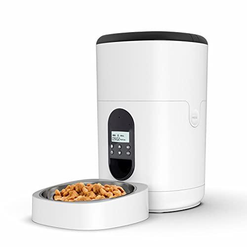TAUSFILA 4L Automatischer Futterautomat für Katze und Hund, Automatischer Futterspender mit Programmierbar Timer,LCD Bildschirm und Ton-Aufnahmefunktion Bis zu