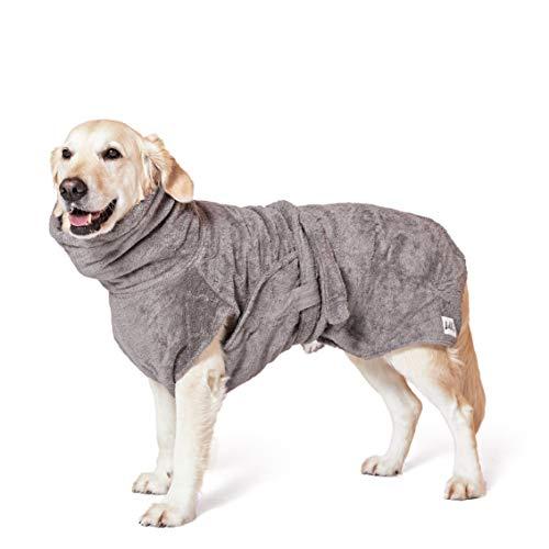 Lill's Hundebademantel, 100% Bio-Baumwolle, Organic Stone Grey (Grau) (L)