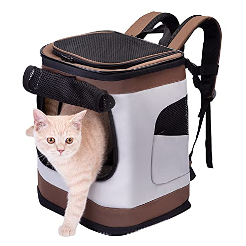 HAPPY HACHI Faltbar Weich Haustier Rucksack Rückenspritze Haustier Gepäckträger für Kartze Hunde mit einstellbar Polsterstuhl Schulter Gewebe Top-Openning Öffnung bis zu 10kg (Braun)