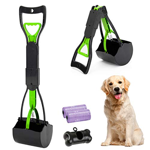 HyAdierTech Tragbare Hundekotgreifer, Kotgreifer Hunde, Yard Hund Pooper Scooper mit Abfallbeutel Spender, Faltbarer Hundekotschaufel für Katze mit 30 Hundeabfallbeutel, Einfach Nutzbarem Hebel