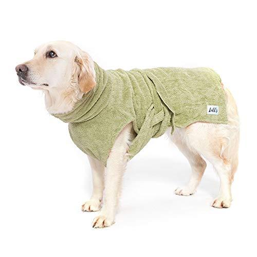 Lill's Hundebademantel, 100% Bio-Baumwolle, Organic Green Leaf (Grün) (M)
