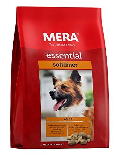 MERA essential Hundefutter  Softdiner  Für ausgewachsene Hunde mit hohem Aktivitätsniveau - Mix-Menü Trockenfutter mit Geflügel - Ohne Zucker & Konservierungsstoffe (12,5 kg)