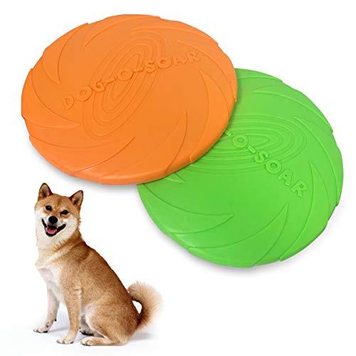 BoloShine Hundefrisbee, 2 Stück Natürlichem Kautschuk Hunde Frisbees, Weiche Hundespielzeug Frisbee Interaktives Spielzeug für Hundetraining Werfen Fangen & Spielen