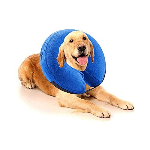 Filhome Halskrause Hund Schützender Aufblasbarer Hundekragen Schutzkragen Krägen für Haustier Einstellbar mit Klettverschluss