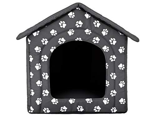 HobbyDog Hundehütte Hundebett Tierbett Katzenbett Grau mit Pfoten