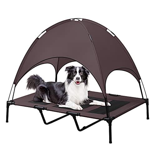 BRIAN & DANY XL-Hundebett, erhöht und mit Überdach, langlebiges 1680D-Oxford-Gewebe Hundeliege für Camping oder Strand mit gesonderter Tragetasche, Braun