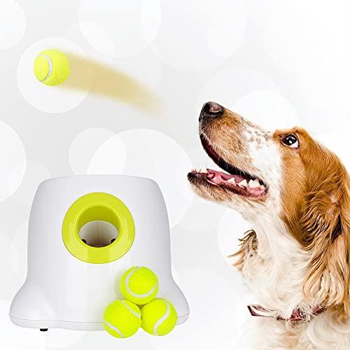 GJCrafts Automatischer Ballwerfer 3 Wurfabstandseinstellungen Interaktive Tennisballwurfmaschine für Hunde-IQ-Training und Unterhaltung (3 Bälle enthalten)