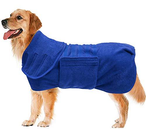 Geyecete - Hundemantel, schnell trocknend Badetuch mit Klettverschluss,Mikrofaser,sehr saugfähig,Bademantel für Hunde und Katzen-Blau-XL