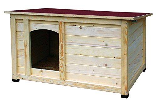 dobar 55014FSC Hundehütte 'Lord', XL Outdoor Hundehaus für große Hunde, Platz für Hundebett, wetterfest imprägnierte Hundehöhle, Dach mit Aufstellvorrichtung, 120x75x70 cm, 35kg Holzhütte