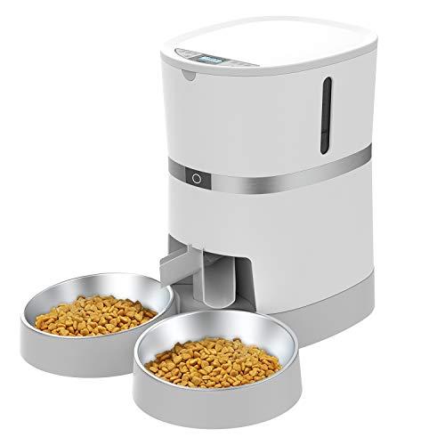 WellToBe Futterautomat für 2 Haustiere Katze und Hund, Automatischer Futterspender für Katze und Hund, Pet Feeder mit Timer, LCD Bildschirm und Ton-Aufnahmefunktion, bis zu 6 Mahlzeiten am Tag