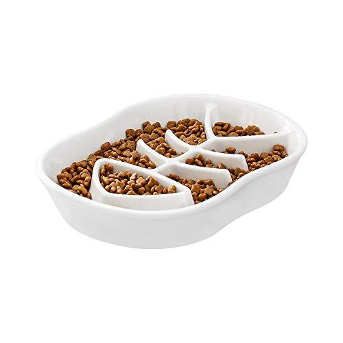 Weiß Anti-Schling-Napf für Hunde und Katzen, Langsam Fütterung Hundenapf Katzennapf,Langsam Fressen Schüssel,Interaktiver Slow Feeder Futternapf,aus Keramik,Reduziert Verschlucken und Überessen