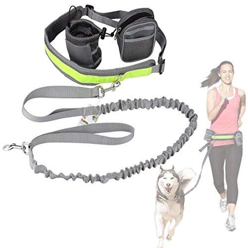 Cadrim Hunde Joggingleine mit verstellbarem Hüftgurt Bungee Leine zum handfreien Laufen/Fahrrad Fahren (Grau)