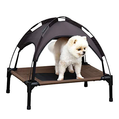 Pawhut Haustierbett mit Baldachin, Erhöhtes Hundebett, Hundeliege Outdoor mit Dach, Atmungsaktiv, Taftstoff Kaffee 61 x 46 x 61 cm