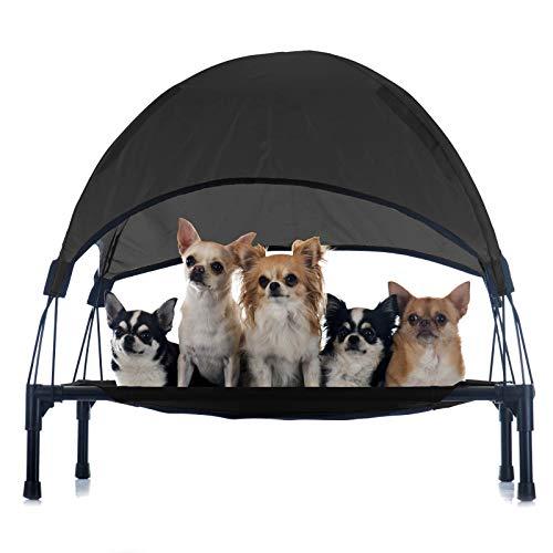 Wiltec Hundeliege Schwarz 60x45x16cm bis 15kg Relaxliege Hundebett Katzenliege Haustier Schlafplatz Sonnend