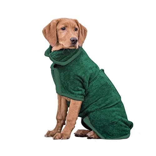 PETTOM Hundebademantel Mikrofaser Badezubehör Badetuch Hund Bademantel Schnelltrockend für Kleine Mittlere und Große Hunde (Grün,M)
