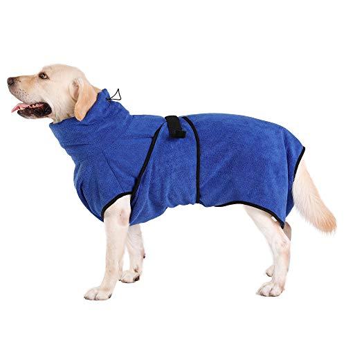 Hunde-Bademantel Mikrofaser Hundehandtuch Schnell Trocknend mikrofaser Handtuch Super Saugfähig Komfortabel und mit Verstellbaren Trägern für Haustiere Hunde und Katzen,Navy Blau (L)