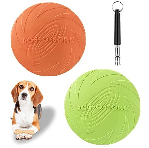 Hundefrisbee,22 cm Hund Scheibe,2 Stück Hunde-Frisbee aus Natürlichem Kautschuk für Land und Wasser ,mit 1Stück Hundepfeife(Grün + Orange)