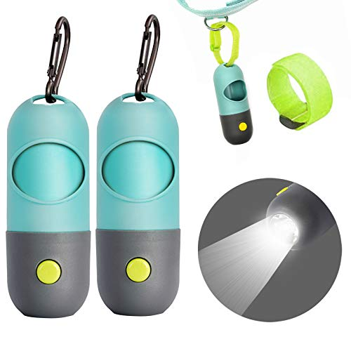 Dog Poop Bags dispenser with LED Flashlight|Dog Bags for Poop with Dispenser and Leash Clip|Pet Waste Bags Refill Rolls-2 Pack