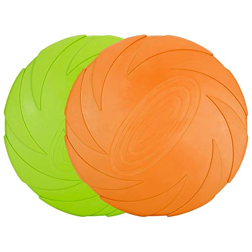 Vivifying Hundefrisbee, 2 Stück 15cm Hunde-Frisbee aus Natürlichem Kautschuk für Land und Wasser (Grün + Orange)