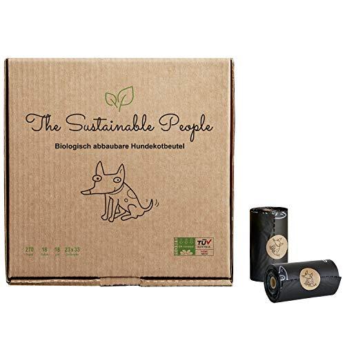 The Sustainable People TSP Bio-abbaubare Hundekotbeutel - OK Compost Home Zertifiziert - 100% heim-kompostierbar und biologisch abbaubar - Gross, Extra Dick (18µm), (18 Rollen (270 Beutel))