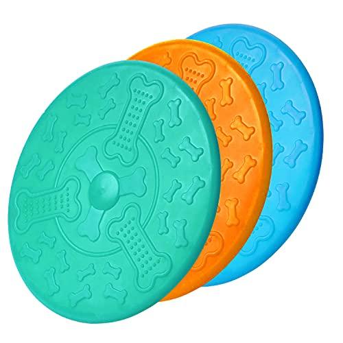 Frisbee,Naturkautschuk Hundefrisbee 18cm Langlebiges Training Hundespielzeug,Perfekt Frisbee Scheibe Spielzeug für Hunde,Werfen, Hundetraining, Spielen & Fangen(3 Stück)