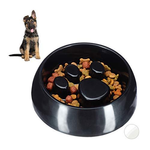 Relaxdays Anti Schling Napf, Fressnapf für Hund & Katze, Langsam Fressen, Großer Futternapf, spülmaschinenfest, schwarz