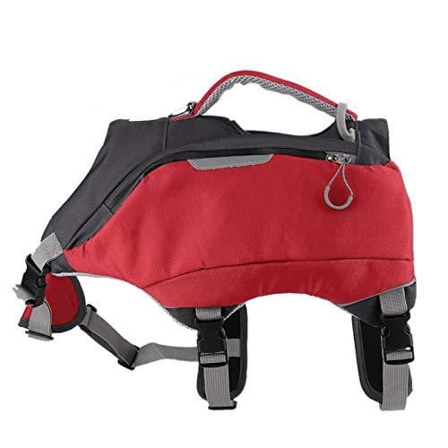 SALUTUY Hunderucksack, Schwimmweste für Hunde 2-in-1-Satteltasche Reisetaschen mit D-Ring Ergonomisches Design, Atmungsaktive Trainingstasche für das Training Wandern Camping(M)