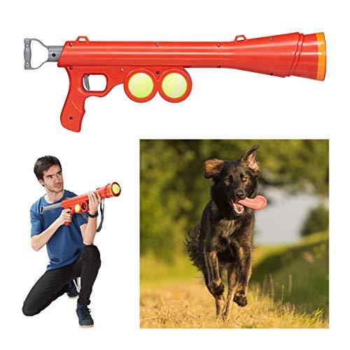Relaxdays, rot Ballkanone Hund, inklusive 2 Tennisbälle, Ballpistole 10-15 m Reichweite, alle Hunderassen, Ballwerfer, 1 Stück