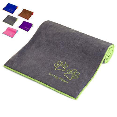 Lucky Paws® Hundehandtuch - Groß - Superabsorbierendes Mikrofaser Handtuch Hund - Schnelltrocknendes Handtuch - Super Weich - Premium Haustierhandtücher