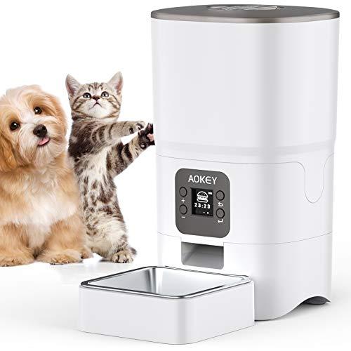 AOKEY Futterautomat Katze, Futterautomat Katze Nassfutter 6L Katzenfutter-Trockenbehälter Zahlen Sie automatisch Vier Mahlzeiten pro Tag katzenfutterautomat LED Bildschirm Futterspender Katze