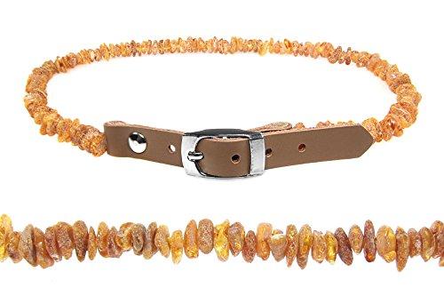 Saniston Bernstein-Halsband für Hunde und Katze/Roher Baltischer Bernstein/Handgemachtes (20-25)