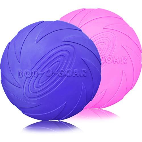 ZSWQ Frisbee - 2 Stück Hundefrisbee hundespielzeug Frisbee wasserspielzeug Dog Disc Naturgummi-Frisbee Ideal für Hundetraining, Werfen, Fangen & Spielen