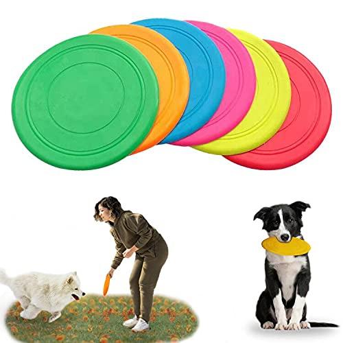 Yisscen Weiche Rubber Disc Hundespielzeug, 6 Stück Scheibe Hund Hundefrisbee Rubber Disc Hundespielzeug für Land und Wasser, Hundetraining, Werfen, Spielen Interaktive Spielzeug(17.2cm x 17.2cm)