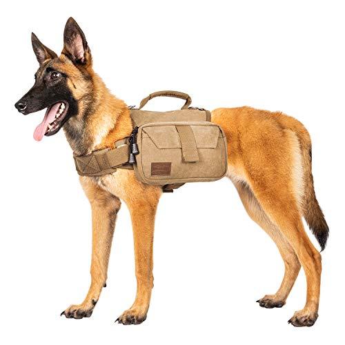 OneTigris Hunderucksack Camping Wandern Reißen Hundebackpack für M/L Größe Hunde  MEHRWEG Verpackung (M, Braun)
