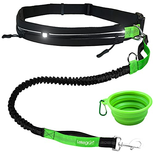 Leisegrün Joggingleine für Hunde bis 55 kg | Hundeleine zum Joggen mit Bauchgurt | Jogging Leine für große & mittelgroße Hunde | Länge 120 cm bis 170 cm, schwarz