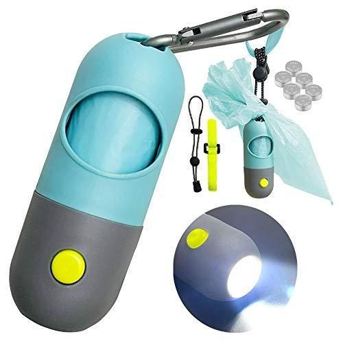 Infinite Node Beutelspender für Hundekotbeutel mit eingebauter LED-Taschenlampe und Leinenclip, Zubehör für das Gehen mit dem Hund (Kristallblau, Kotbeutelspender)
