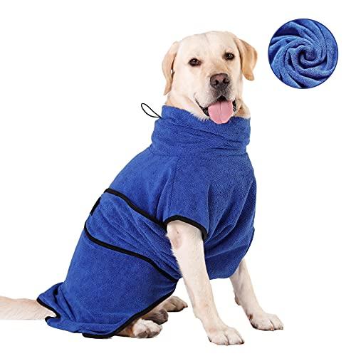 HAPPY HACHI Mikrofaser Hunde Bademantel Badetuch Hundebademantel Waschbare Super Saugfähig Feuchtigkeit Schnell Trocknend Handtuch Strandtuch für Kleine Mittlere und Große Hund Katze Blau L