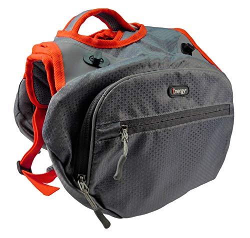 iEnergy MAE Hunderucksack - 2in1 Geschirr und Abnehmbarer Rucksack für Hunde - Wetterfest und inklusive Zwei Trinkflaschen mit Thermotaschen (Mittel)