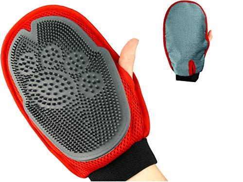 PurrCave® 3in1 Fellpflege Handschuh Beidhändig | Jetzt mit 800 Massage Noppen | 2-Seitige Bürste: Tierfreundliches Silikon + Mikrofaser | Für Haustiere | Reinigung Möbel Sofa l Hund Katze