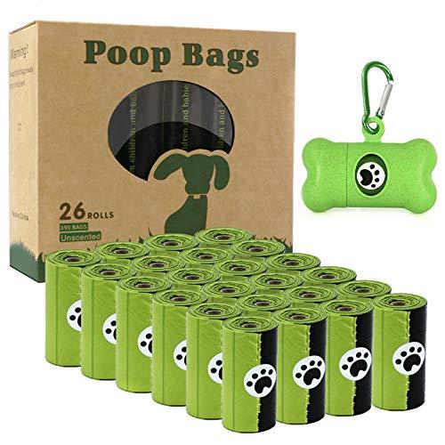 Hundekotbeutel 26 Rollen (390 Beutel) - Kotbeutel für hunde Biologisch abbaubare mit 1 Kostenlosen Spender, auslaufsicheren und duftend Kotbeutel für Hunde