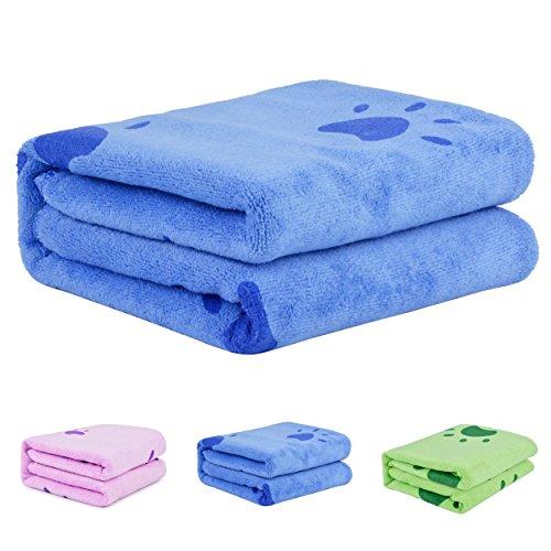 Legendog Handtuch Hunde, Großer Weich Hundehandtuch Hunde Bademantel Microfiber Schnelltrocknend Warm Haustierhandtuch für Hunde Katzen 140 * 70 cm Blau