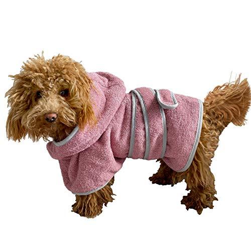 HOMELEVEL Hundebademantel aus 100% Baumwolle für Weibchen und Männchen schnell trocknend Hund Bademantel Handtuch Altrose/Grau XS