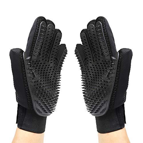 Merauno® Fellpflegehandschuh Tierhaarentferner Bürste Massage Fellpflege Grooming Glove Hund Katze Massageffekt & Deckhaarschutz (Schwarz, 2 Handschuhe (EIN Paar))