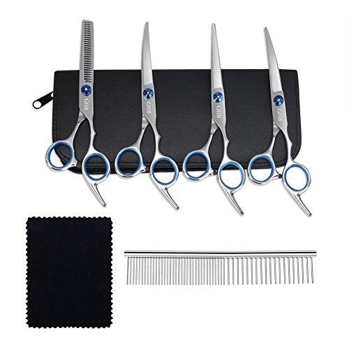 GHB Hunde Haarschere Hundescheren mit Effilierschere zur Fellpflege 5 in 1 für alle Hunde Katze Schneiden und Grooming