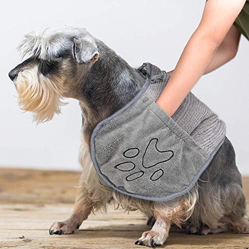 Hundetuch Mikrofaser Hundehandtuch Chenille mit Hand Taschen, Extra Saugfähig Haustie Handtücher Handtuch zum Schnelles Trocknen, Hundebademantel Handtuch für Katzen und Hunde, Maschine Waschbar