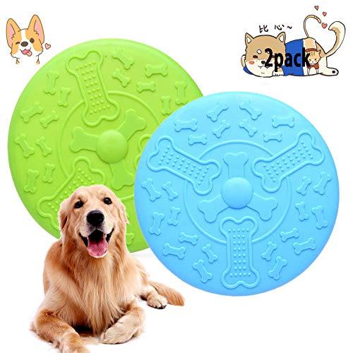JIASHA 2 Stück Hundefrisbees,hundespielzeug Frisbee,Gummi Frisbee,Hundespielzeug,Hunde Scheiben,Interaktive Outdoor-Spielzeug für Land und Wasser,Hundetraining, Werfen, Fangen & Spielen