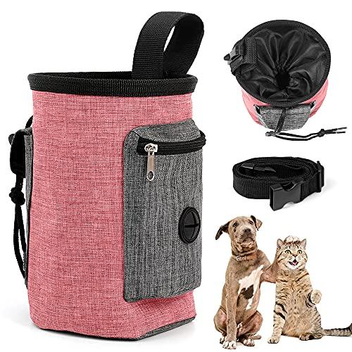 O-Kinee Futterbeutel Hunde, Futterbeutel Hundetraining, Hunde Leckerlitasche, Leckerli-Beutel für Hunde, Leckerlibeutel, Hundeleckerli Beutel, für Das Training & die Welpen-Erziehung (Rosa)